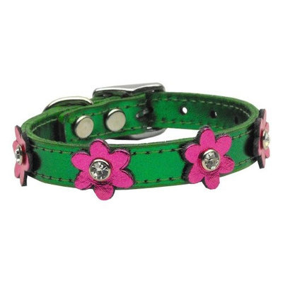 Mirage Pet Products 8308 12EmgMPkM Flower Leather Metallic Emerald Green with MTL Pk Flowers 12