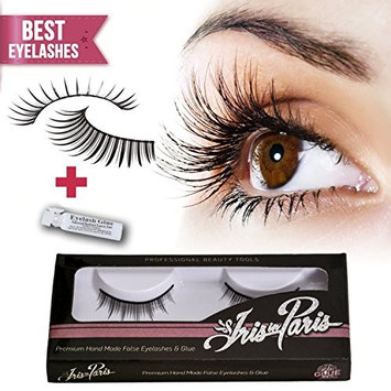 Professional False Eyelashes with Glue Set By Iris in Paris Thin and Natural Perfect for Beginners Reusable Great for Contact Lens Wearers Natural Fake Eyelashes [Natural]