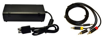 XBox 360 E Parts Bundle - Power Adapter and AV Cable - by Mars Devices