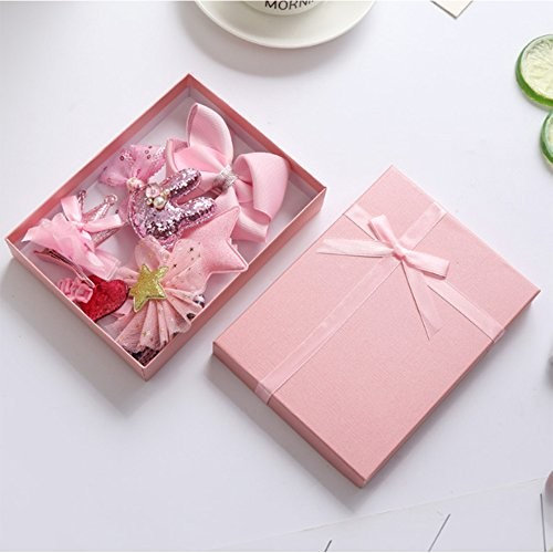 Zinnor Hair Styling Accessories Kit Hair Clips Bows Barrettes Hairpins Set for Toddler Baby Girls with Pink Gift Box 10Pcs Cute Gorgeous Girls Gift on Children's Day, Birthday or Holiday Gift