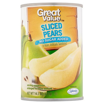 Great Value Sliced Pears In Water, No Sugar Added, 14.5 Oz (6 Packs)