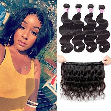 Brazilian Virgin Body Wave Human Hair Weave 4 Bundles 10 Inch 100% Unprocessed Virgin Brazilian Human Hair Weave Extensions Body Wave Bundles 50g/Pc Natural Black Color