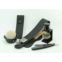 GBS Shaving Set - Comes in Gift Box - Gold Dollar Straight Razor Checkered Handle, Gbs Bowl, 100% Pure Badger Brush, Brush Stand, Ocean Driftwood Shaving Soap, Leather Case, 20