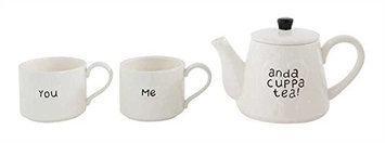 Creative Co-op You, Me, And A Cuppa Tea - Stackable Cup And Teapot Set - White Stoneware