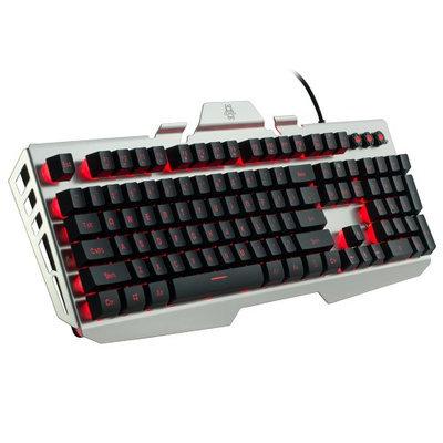 Cliptec 7 LED Color Illuminated Backlight Backlit Multimedia USB Wired Gaming Keyboard Aluminum Base