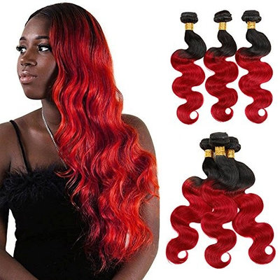 Ombre Brazilian Body Wave Human Hair Weave Two Tone Color T1B/Red 12
