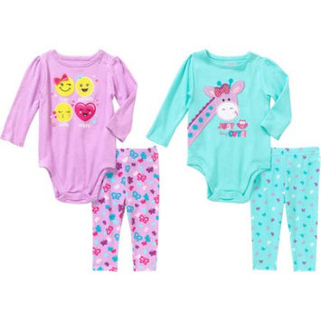 Garanimals Newborn Baby Girl Graphic Bodysuit and Printed Leggings 2-Piece Outfit Set