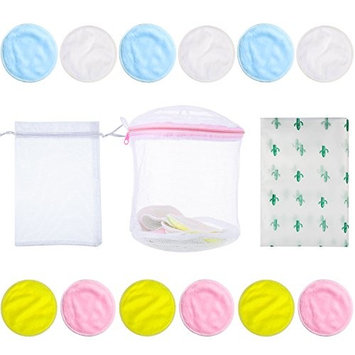 Frienda 15 Pieces Bamboo Makeup Remover Pads Set 12 Pack Makeup Remover Reusable Pads with 1 Laundry Bag 1 Waterproof Storage Bag 1 Organza Bag, 4 Colors Wash Color Pads 3.15 Inch for Facial Skin Care
