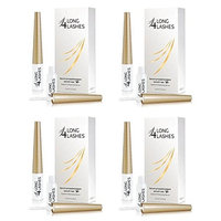 Long 4 Lashes by Oceanic Eyelash Enhancing Serum, 3 ml (Pack of 4) + FREE Assorted Purse Kit/Cosmetic Bag Bonus Gift