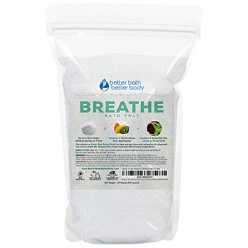 Breathe Bath Salt 32oz (2-Lbs) - Epsom Salt Bath Soak With Clove & Spearmint Essential Oils & Vitamin C - Helps Open Airways & Encourages Better Breathing - All Natural No Perfumes No Dyes