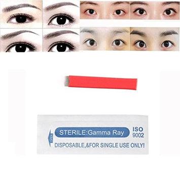 DZT1968 10pcs natural Permanent Makeup Manual Oblique elastic Eyebrow Tattoo Microblade Needles 12 Pins