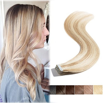 16inch Remy Tape in Human Hair Extensions Ash Blonde mixed Bleach Blonde 20pcs Highlight Long Straight Skin Weft Invisible Double Sided Tape +10pcs Replacement Tapes(#18-613,30g)