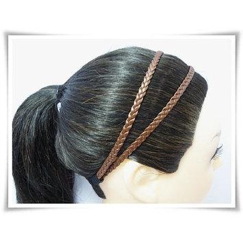 H1814 Dark Brown Headband Leatherette Double Braid Stretch Elastic by Fonza Shop