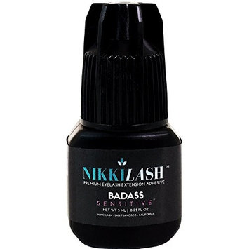 NIKKILASH BADASS SENSITIVE Eyelash Extension Glue with Latex-Free Low-Fume Low-Odor Less-Irritation | Formulated to Minimize Allergy Reactions For Sensitive Eyes Clients | Extra Strong Retention - 5ML