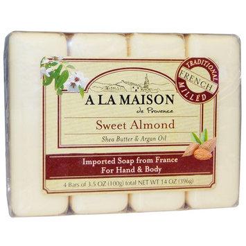 A La Maison de Provence, Hand & Body Bar Soap, Sweet Almond, 4 Bars, 3.5 oz Each [Scent : Sweet Almond]
