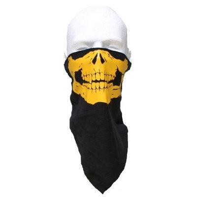 NUNEZ BEST QUALITY 100% COTTON YELLOW SKULL FACE MASK - YELLOW SKULL soft cotton velcro back Motorcycle 1/2 Face SKI Mask