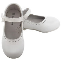 L'Amour White Leather Flower Mary Jane Velcro Shoe Little Girl 11-4