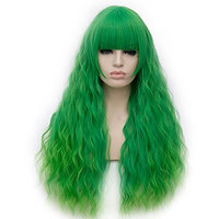 OneUstar Women's Blue Wig with Bangs Long Fluffy Curly Wavy Hair Wigs Heat Friendly Synthetic Cosplay Fancy Dress Party Wigs