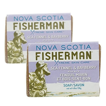 Nova Scotia Fisherman - Hand Poured Soap, All Natural, with Nova Scotia Sea Kelp, Cruelty-Free, Vegan Friendly, Plant-Based Body Care (Sea Fennel and Bayberry, 4.8 oz, Pack of 2)