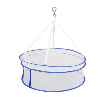 White Blue Two Layers Nylon Netty Closed Hanging Foldable Dryer Basket