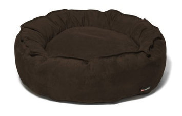 Big Shrimpy Nest Faux Suede Dog Bed, Small, Stone
