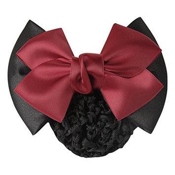 Braceus Womens Ruched Bowknot Decor Snood Net Bun Cover Barrette Hair Clip - Black