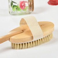 Bamboo body bath and shower boar bristle brush, with detachable head to wash, cleanse and exfoliate entire body