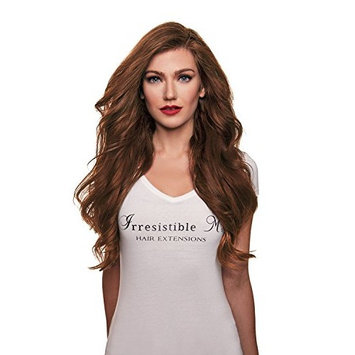 IRRESISTIBLE ME – Clip in Hair Extensions Light Brown (Color #6) - 100% Natural Remy (Remi) Human Real Hair – Straight Silky Touch – Clips Pieces Full Head Set - Different Weight (Grams) and Length (Inch) (#6-20