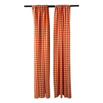 LA Linen BDcheck58x96-2Pk-OrangeK48 Polyester Gingham Checkered Backdrop White & Orange - 58 x 96 in. - Pack of 2
