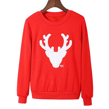 Red Sweatshirt, Coxeer Christmas Knitted Sweater Stylish Slim Soft Cotton Christmas Top for Women