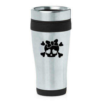 16oz Insulated Stainless Steel Travel Mug Heart Skull Bow (Black )