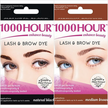 1000 Hour Eyelash & Brow Dye Kit Permanent Mascara Natural Gentle Plant Extract (Natural Black & Medium Brown)