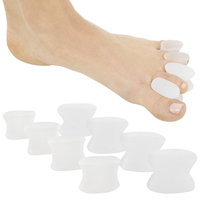 ViveSole Toe Spreaders (8 PIECES) - Silicone Gel Feet Separator Spacers - Straighten Overlapping Toes - Foot Yoga Stretchers for Men, Women Pain Relief - Bunion, Toe Alignment Corrector - Pedicure Aid