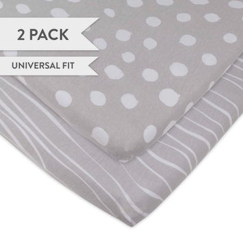 Changing Pad Cover Set Cradle Sheet 2 Pack 100% Jersey Cotton Grey Abstract Stripes and Dots by Ely's & Co