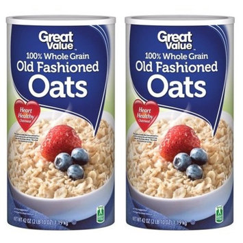 Great Value 100% Whole Grain Old Fashioned Oats 42 oz Canister (Pack of 2)