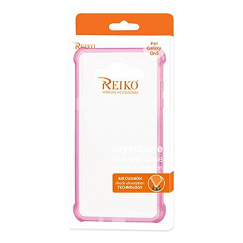 Reiko Wireless Bumper Case with Air Cushion Shock Absorption for Samsung Galaxy On5 - Clear Hot Pink