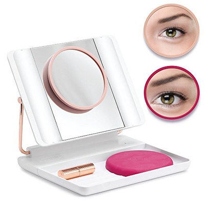 Spotlite HD Magnifying LED Lighted Makeup Vanity Mirror | Professional, Portable, Travel Friendly, Rechargeable with 1x 5x 10x Magnifications, by J.O.I. (FRENCH TIPS)
