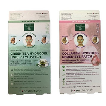 Earth Therapeutics Hydrogel Under Eye Patch, Collagen and Green Tea Bundle