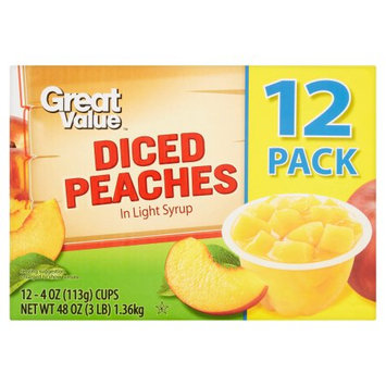 Wal-mart Stores, Inc. Great Value Diced Peaches, 4 oz, 12 ct