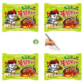 Samyang Jjajang Buldak Roasted Chicken Ramen Ramyun Noodle 140g (Pack of 4) + (1) Chopsticks