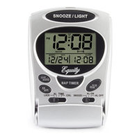 Equity By La Crosse Fold-Up Digital 2.70 in. LCD Travel Alarm Table Clock with Nap Timer and Backlight