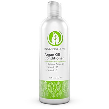 Argan Oil Conditioner - With 100% Certified Organic Moroccan Argan Oil & Vitamin B5 - Holistic Treatment for Soft & Silky Hair - Deluxe Nourishment to Hydrate Dry Scalp - InstaNatural - 16 OZ