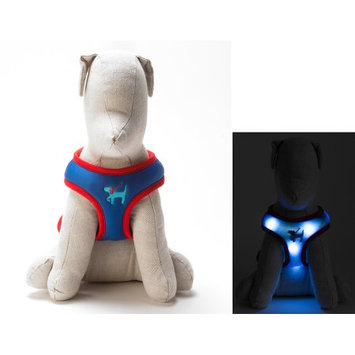 Dog-e-glow Light Up LED Dog Harness - Patented Light Up Comfort Harness for Puppies and Dogs - by Dog e Glow (Navy, small 16