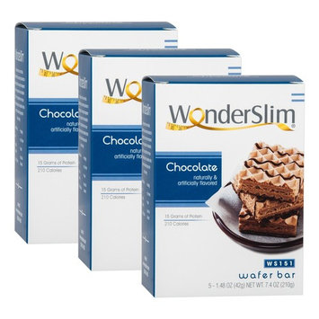 WonderSlim High Protein Wafer Bar - Chocolate (3 Boxes - Save 5%) - Trans Fat Free, Aspartame Free, Cholesterol Free