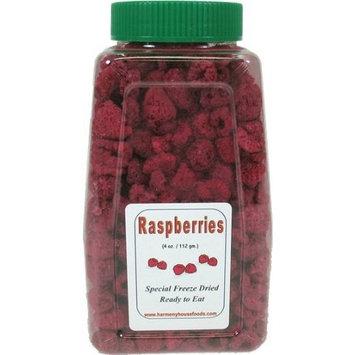 Harmony House Foods Freeze-Dried Raspberries, whole (3.5 oz, Quart Size Jar)