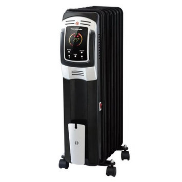 Estink Electric Oil Filled Radiator Heater, Full Room Oil Heater with LED Display Screen, 24-Hour Timer and Remote Control, Electric Space Heater, Black, 1500W