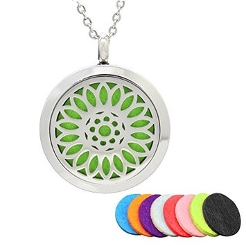 ROSENICE Aromatherapy Necklace Aromatherapy Essential Oil Diffuser Stainless Steel Necklace Round Locket Pendant (Silver)