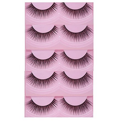 Bluelans 5 Pairs Black Natural Sparse Cross Long Eye Lashes False Eyelashes Extension