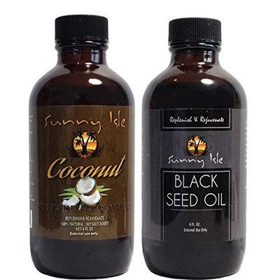 Sunny Isle Jamaican COCONUT Black Castor Oil and Pure Black Castor Oil 4oz (Pack of 2)