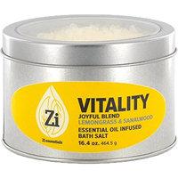 Vitality Joyful Blend (Lemongrass & Sandalwood) Bath Salts. 16oz Windowed Tin - Zi Essentials
